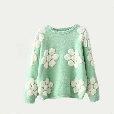 Fashion Women Sweaters Flower Brand Printed Top Shop Women Sweater O-neck Long Sleeve Loose Pullovers Tricotado Knitwear Tops(China (Mainland))