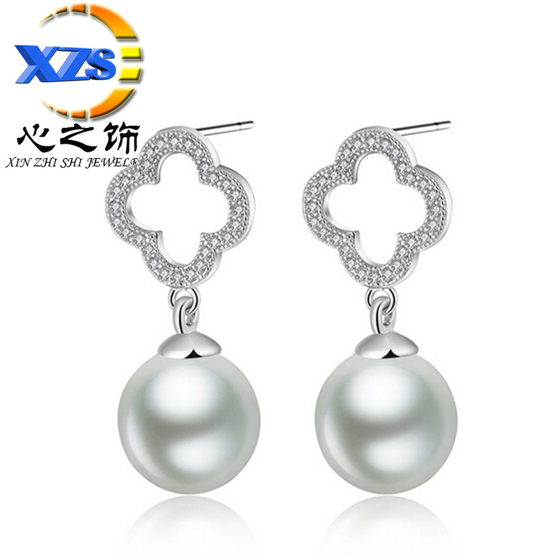 Heart ornaments S925 sterling silver stud earrings natural pearl shell pearl earrings hypoallergenic Korean fashion wholesale ma(China (Mainland))
