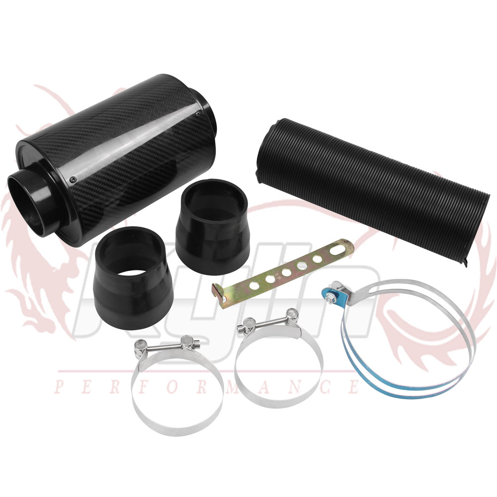 KYLIN STORE - Universal Racing Air Filter Box Carbon Fiber Cold Feed Induction Kit Air Intake Kit Without Fan