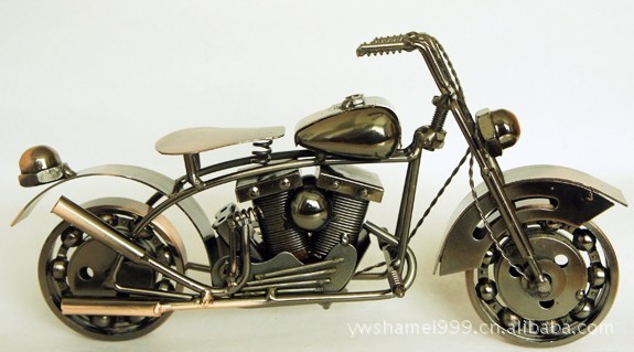 Handmade Retro Iron Motorcycle Model Ornaments Vintage Metal Motorbike Crafts Home Decor Gift Free Shipping Two Color big size