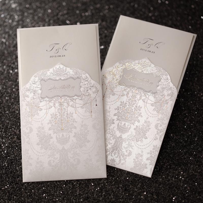 Regal Luxury Folded Free Personalized & Customized Printing Wedding Invitations Cards Custom Ivory (Set 50) - Paper Spiritz store