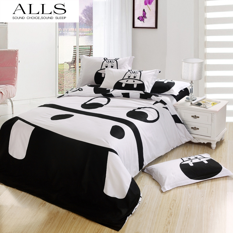 100% cotton cartoon bed linen black and white hippo bedding set duvet cover flat sheet pillow case king size doona covers(China (Mainland))