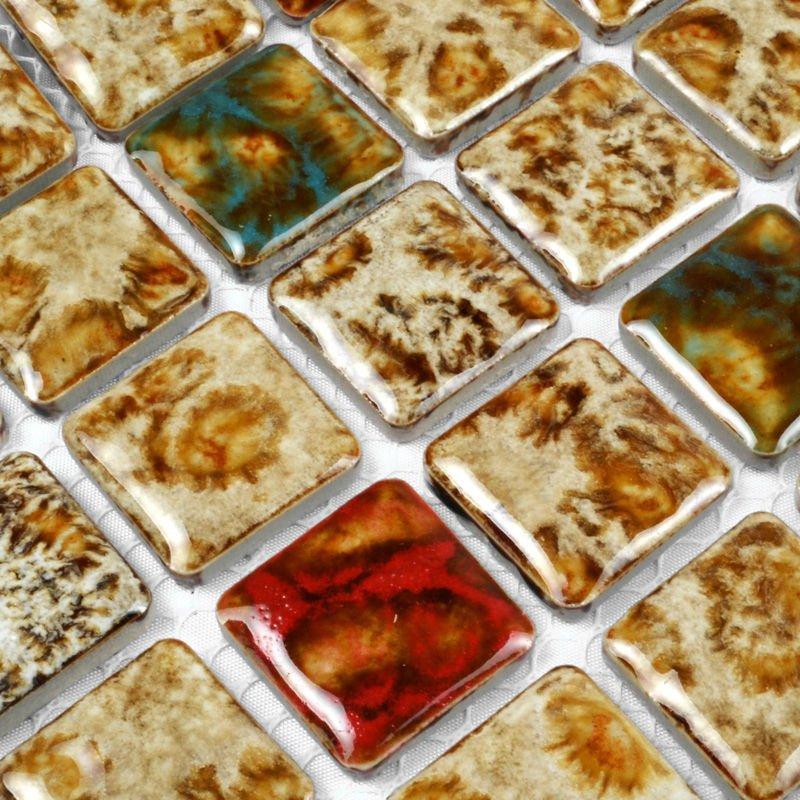 Folhas de telha cerâmica quadrado curva padrão de pedra mosaicos arte da cozinha backsplash porcelanato piso de design de chuveiro do banheiro(China (Mainland))