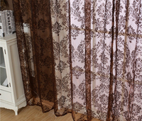 European style curtain tulle fabric brown flocked window screens transparent gauze curtain
