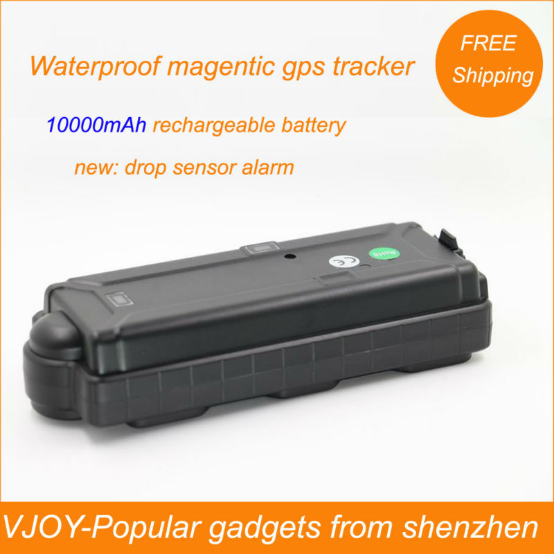 FREE shipping!Portable rastreador veicular with 10000mAh rechargeable battery, drop sensor and FREE gps tracking software!(China (Mainland))
