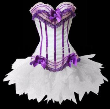 Белый + пурпурно-полоса сексуальный корсет с g - строка, Талия обучение корсеты и ...