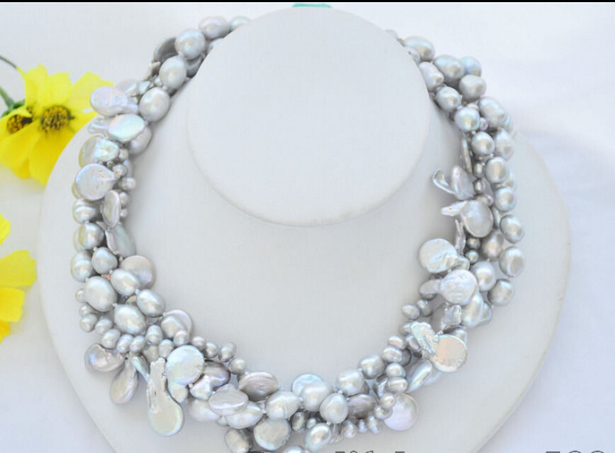 Fast SHIPPING ****** Z7072 4Strds 14mm gray coin &amp; baroque &amp; rice freshwater pearl necklace 18inch (A0329)<br><br>Aliexpress