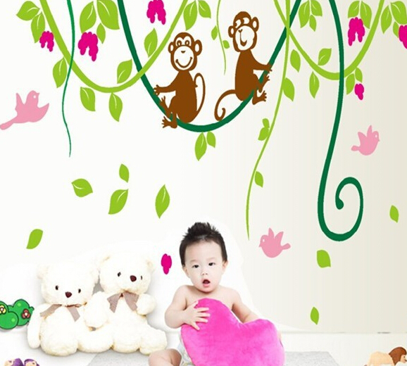 Cartoon Dream Baby Monkey Wall Stickers Tree Wall Decals for Kids Rooms Home Decoration Nursery Monkey Birds Wallpaper AY9012(China (Mainland))