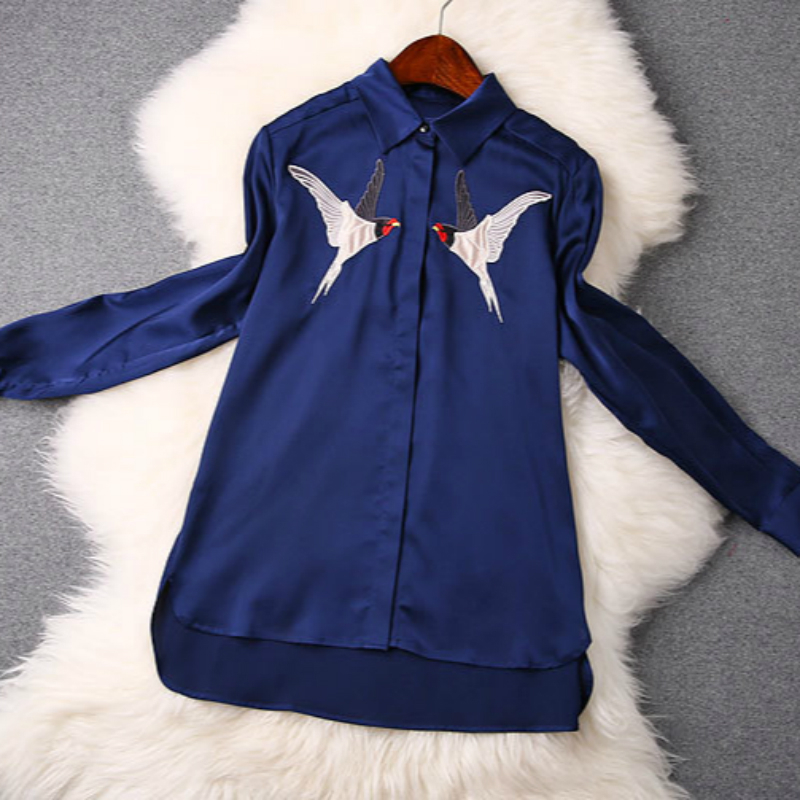 2015 spring summer women blouses turn down collar deep blue white black color birds embroidery women tops blusas femininas(China (Mainland))