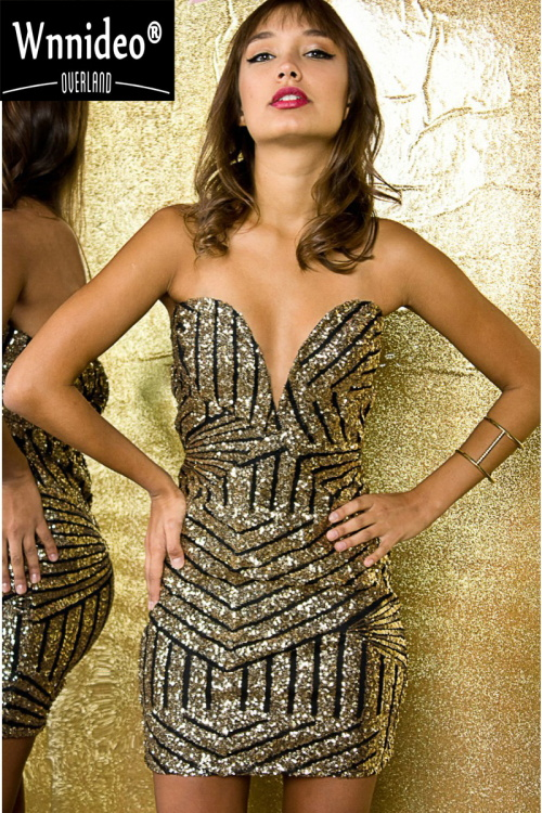 2016 Sexy Sequin Dress Women Halter Dress Party Dresses Black Gold Deep V Neck Clubwear Novelty Woman Clothes Slim Hip(China (Mainland))