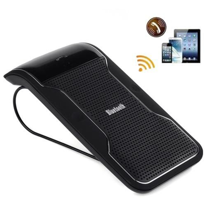 New Wireless Black Bluetooth Handsfree Car Kit Speakerphone Sun Visor Clip 10m Distance For iPhone Smartphones with Car Charger(China (Mainland))