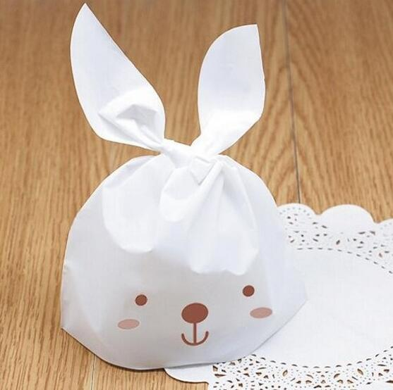 15.5*27cm 50pcs lovely white rabbit ear biscuit plastic bag cookie food cake package bakery Wedding Candy gift bag(China (Mainland))