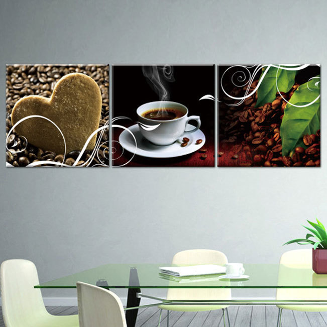 3 Piece Wall Coffe Kitchen Hone Modern Wall Painting Home Decorative Art Picture Paint on Canvas Prints Picture Set (No Frame)(China (Mainland))