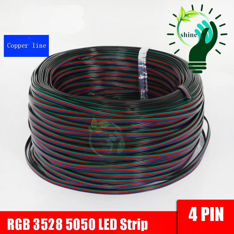 20Meters/lot 20M/pc 4 Pin 4 Channels 5050 3528 RGB LED Strip wire Extension Extend Cable Wire Cord Connector For RGB(China (Mainland))