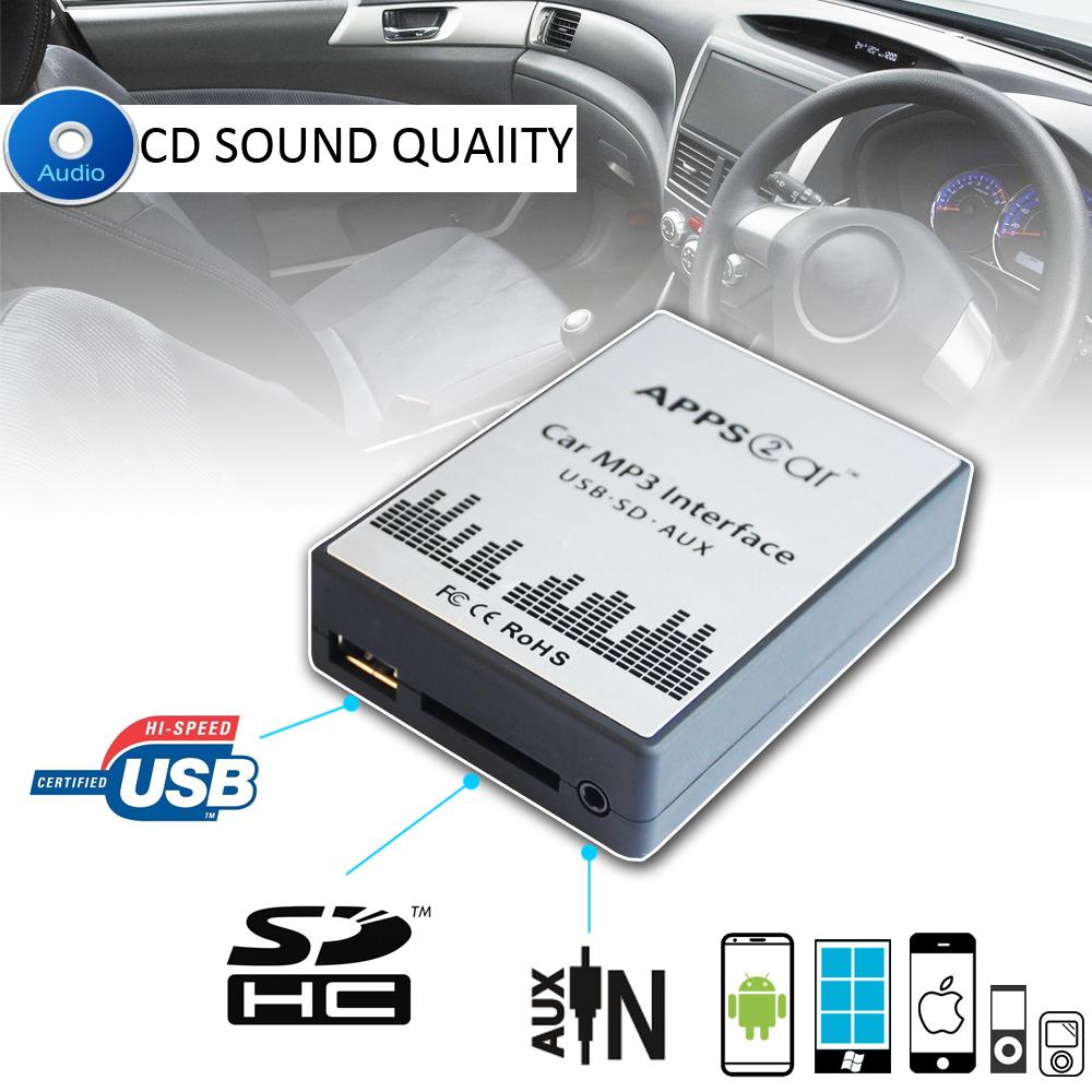 APPS2Car RD3 USB SD AUX Adaptateur MP3 iPod Audio Numérique Changeur CD Voiture pour PEUGEOT 106 206 307 406 CITROEN C3 C4 C5 C8 avec Radio RD32