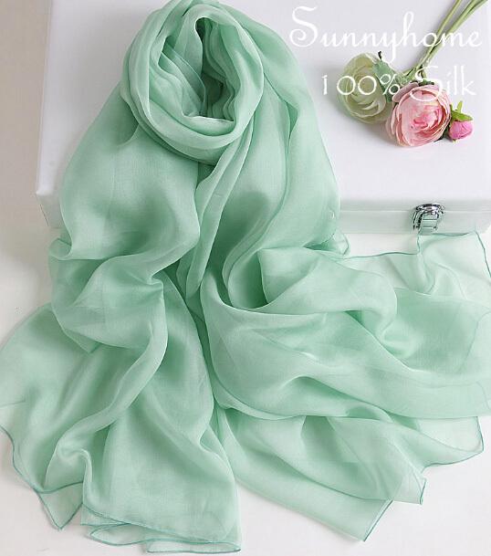 Women silk cc scarf 100% natural soft green british summer style silk shawl tartan bandanas solid ladies long scarves pashmina(China (Mainland))