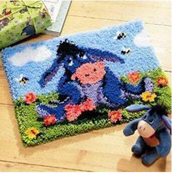 DIY Needlework Kit Unfinished Crocheting Yarn Rug Embroidery Carpet Handmade Floor Mat,Cartoon Donkey(China (Mainland))