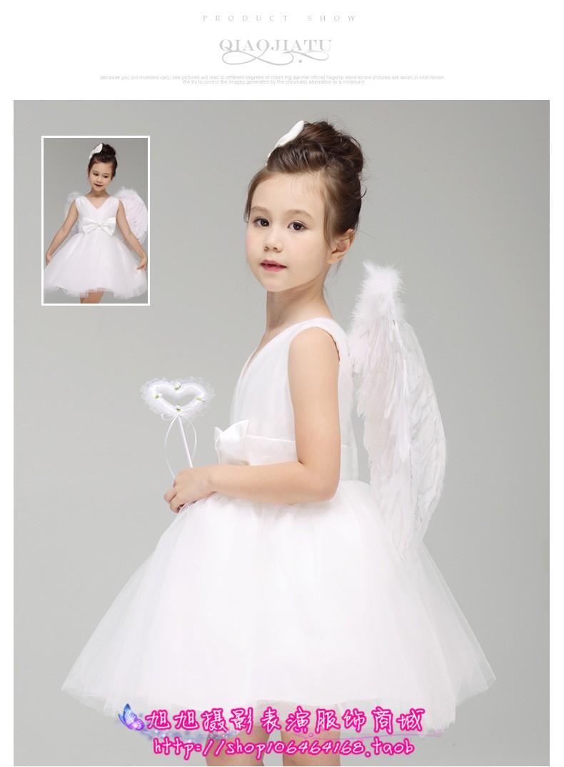 Скидки на Маленький Ангел Костюм девушки цветка ангел с крыльями туту белый женщина платье невесты вуаль