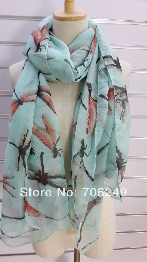 ,dragonfly design scarf,printed shawl,animal scarf,big size shawl,2013 new design,size 110*180cm,muslim hijab - ELLEN FASHION ACCESSORIES store
