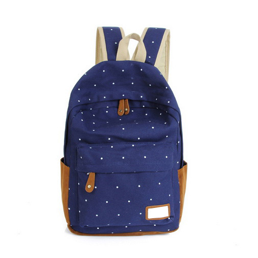 Korean style 12 color Cute double-Shoulder book Bags fashion girls women canvas Dots schoolbag middle school students backpacks(China (Mainland))