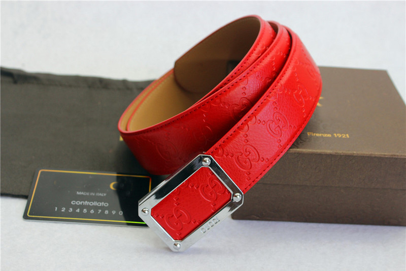 2015 new Style Designer Mens/Womens Belt Fashion Red Letter Real Leather Silver Rectangular Buckle Luxury Ladies Gift Belts(China (Mainland))
