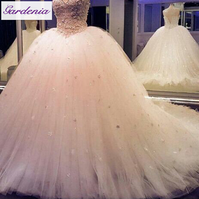 Princess Wedding Dress Crystal Corset Ball Gown Rhinestone