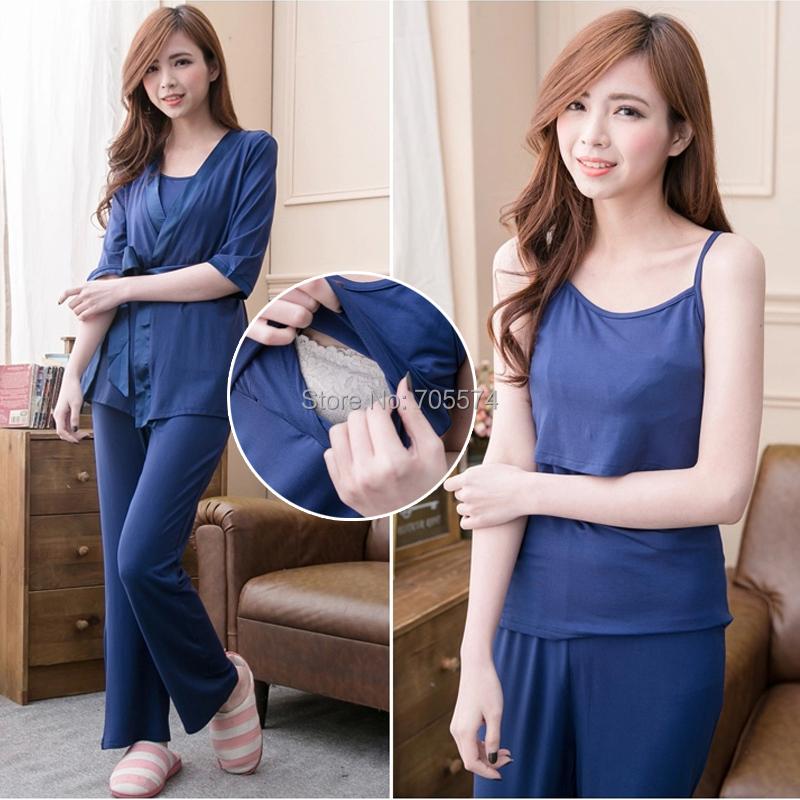 Wholesale!!! Fashion Summer wear Maternity Pajamas set  A set of three Sleep Lounge set Breastfeeding Nursing Pajamas M L XL XXL(Hong Kong)