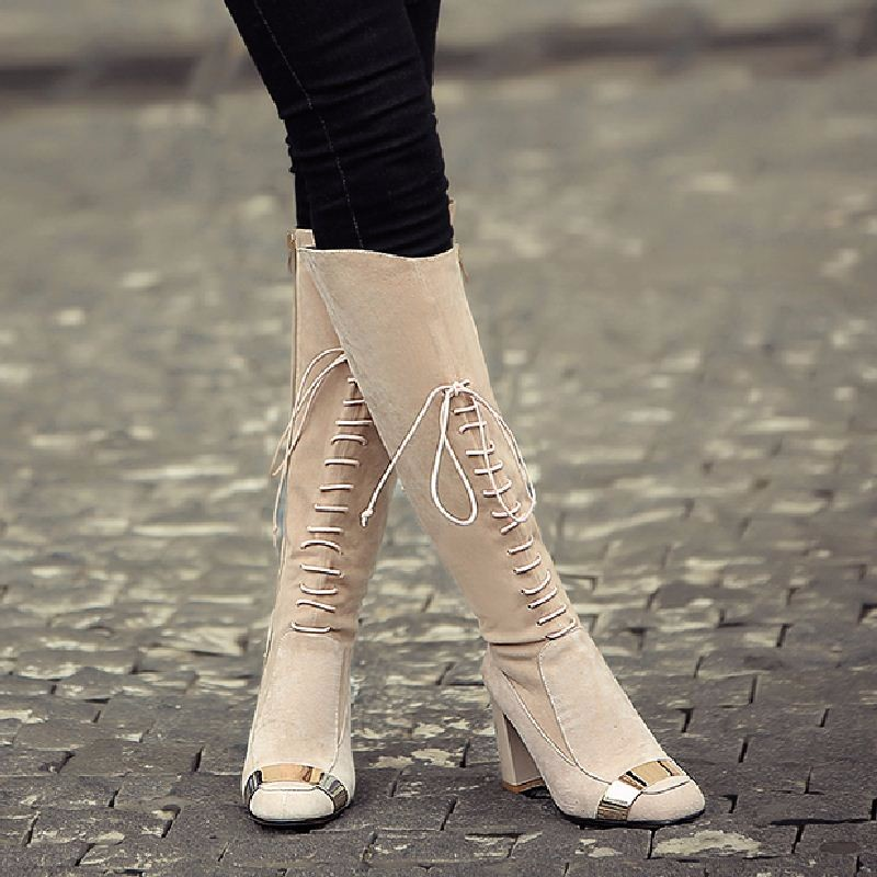 Genuine Leather 2016 Fashion Women's Winter Boots High Quality Lace Up Thick High Heels Shoes Woman Patchwork Knee Boots