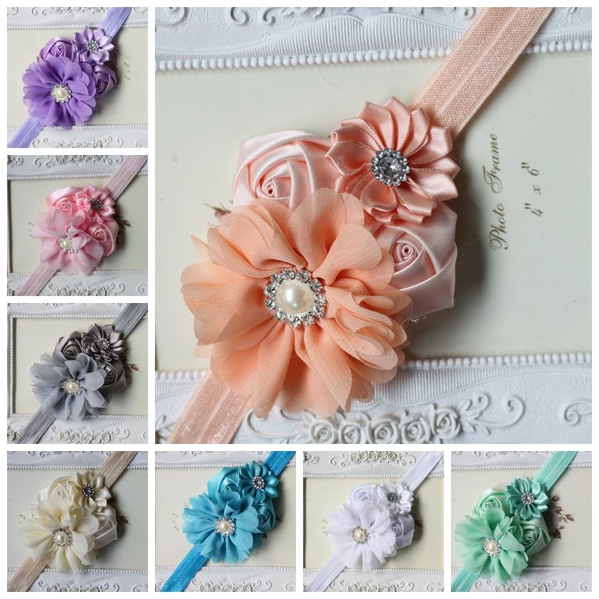 Baby Girl Christmas Gifts Rosette Satin Rose Flower Headband Shabby Chic Vintage Headband Rhinestone Pearl Button(China (Mainland))