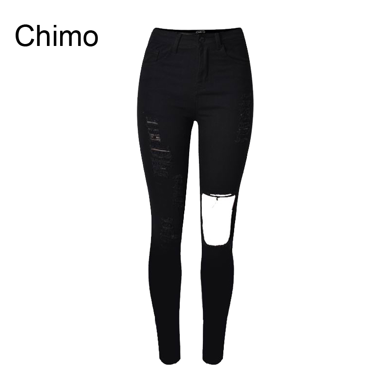 2016 Cotton High Elastic Jeans Woman Knee Skinny Pencil Pants Slim Ripped Boyfriend Jeans For Women Black Ripped Jeans(China (Mainland))
