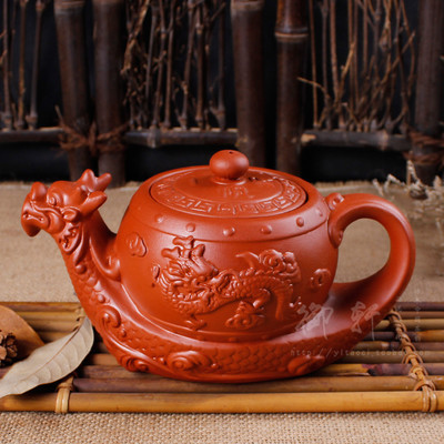 Large capacity yixing hand half a pot are recommended Dragon undressed ore clay teapots ceramic kettle kung fu zhu flower pot(China (Mainland))