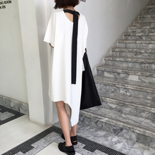 [TWOTWINSTYLE] Original 2016 Summer Backless With Ribbon Round Collar Irregular Hem Unlock Cutting Long Loose T-Shirt Dress New(China (Mainland))