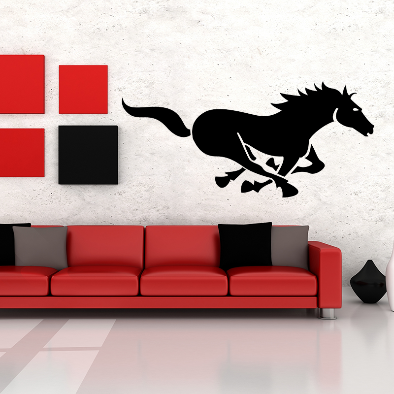 Hot Sale 138*64cm DIY Black Horse Art Wall Decor Decals Mural PVC Wall Stickers Home Decor JJ001(China (Mainland))