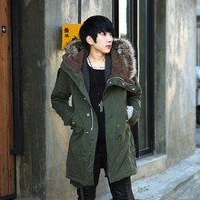 Fashion Luxury Fur Collar Woolen Blends Single Breasted Long Trench Coat Men Winter Thicken Slim Fit
