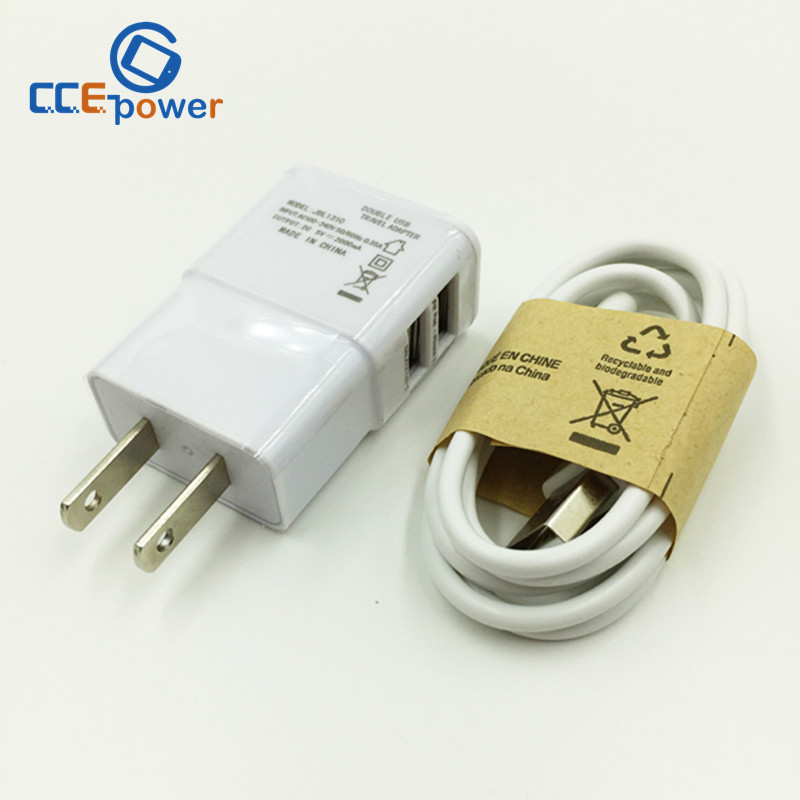 1 set 2A 2 USB Wall EU Charger Adapter +micro USB 2.0 sync DATA cable fit for Samsung Galaxy s2 s3 s4 s6 n7100(China (Mainland))