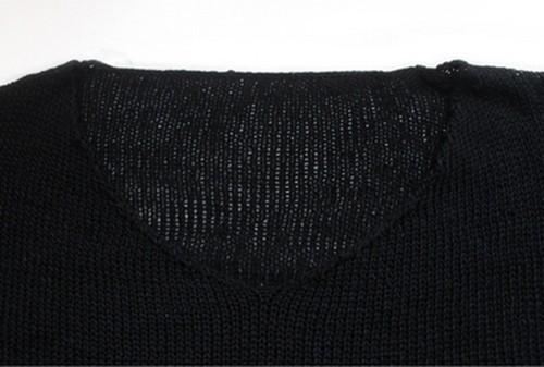 2015 женщин широкий отверстия свитер выдалбливают Asymetric хем широкий трикотажные V шеи длинным рукавом тонкие свитера вершины