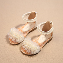 2016 children summer open-toed sandals Girls princess pearl lace shoes kids flat Sandals babay Shoes wholesale SIZE 21-36(China (Mainland))
