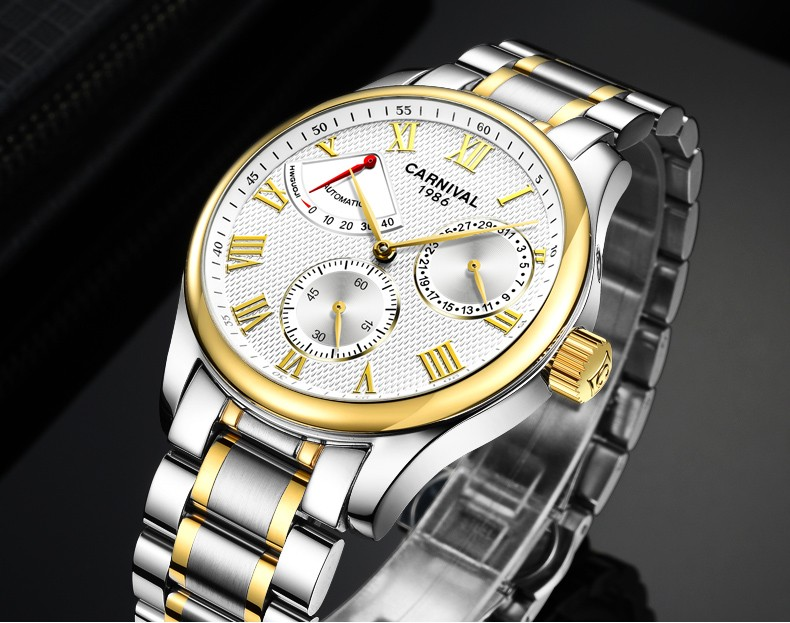 Fashion watch men Power reserve gold Stainless steel Automatic mechanical Sapphire waterproof black watch relogio masculino