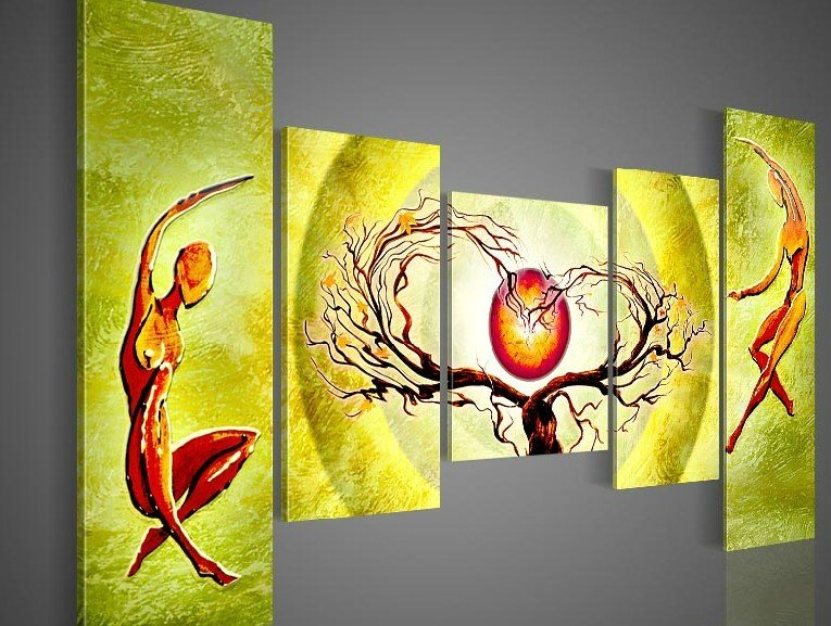 hand-painted wall painting Pale green sun tree dancing home decoration abstract oil painting on canvas 5pcs/set framed(China (Mainland))