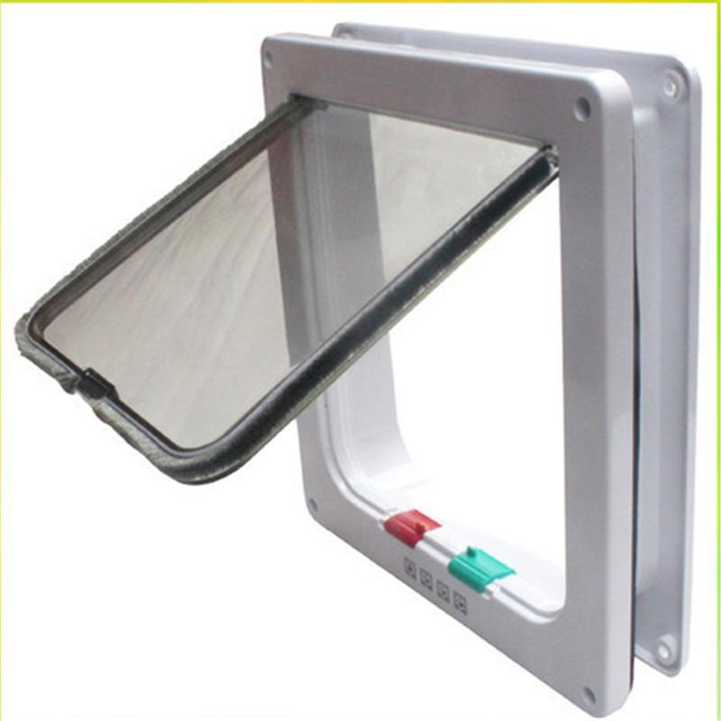 New Medium Large White Brown 4-Way Magnetic Lockable Pet Cat Dog Safe Flap Door(China (Mainland))