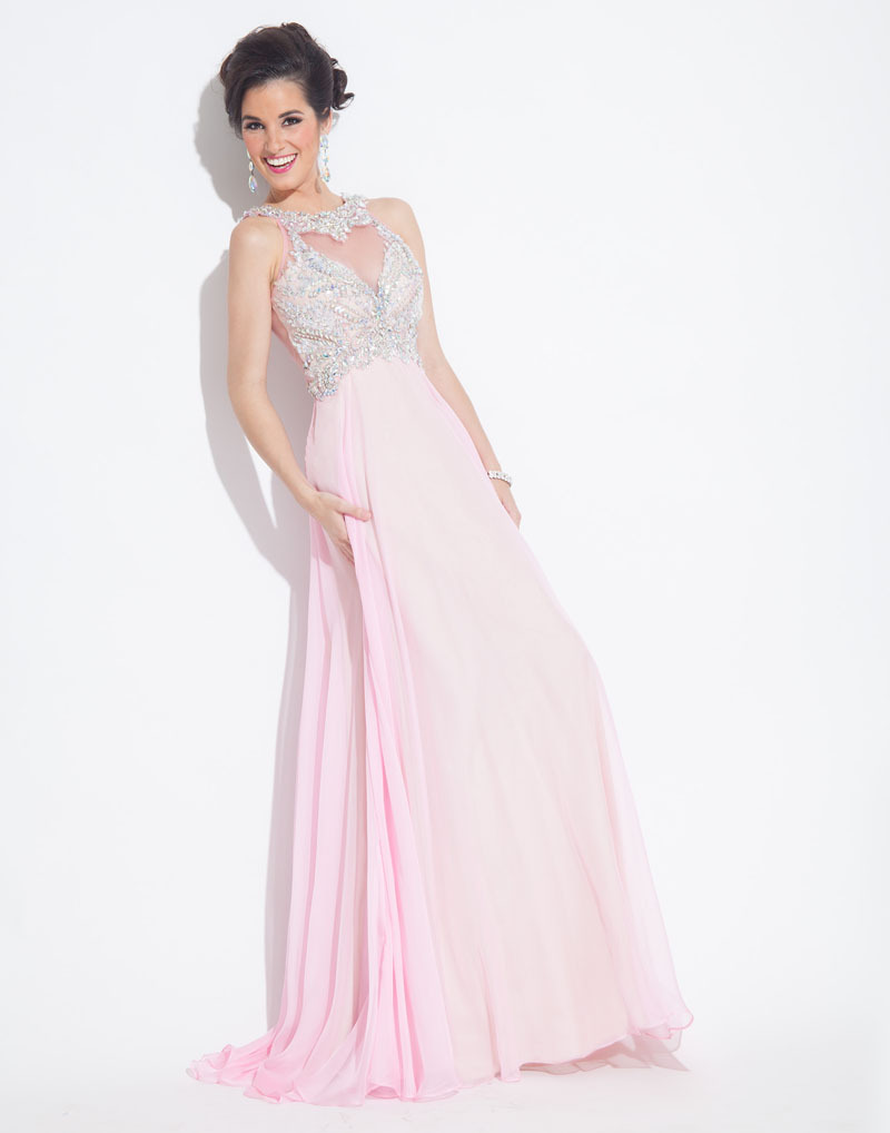 Sparkling crystal light pink prom dresses beaded party for Evening dresses for weddings