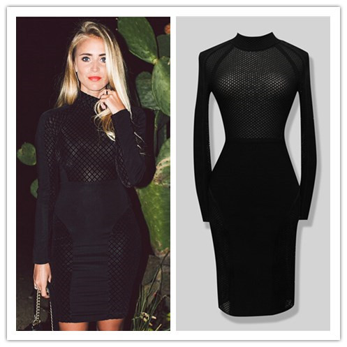 New Arrival Black Color Long Sleeve Sexy Bodycon Knee Length Dress HL Fashion Bandage Celebrity Dress