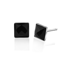 2016 NEW Fashion elegant square black agate 925 pure silver stud earring male men`s silver jewelry gift(China (Mainland))