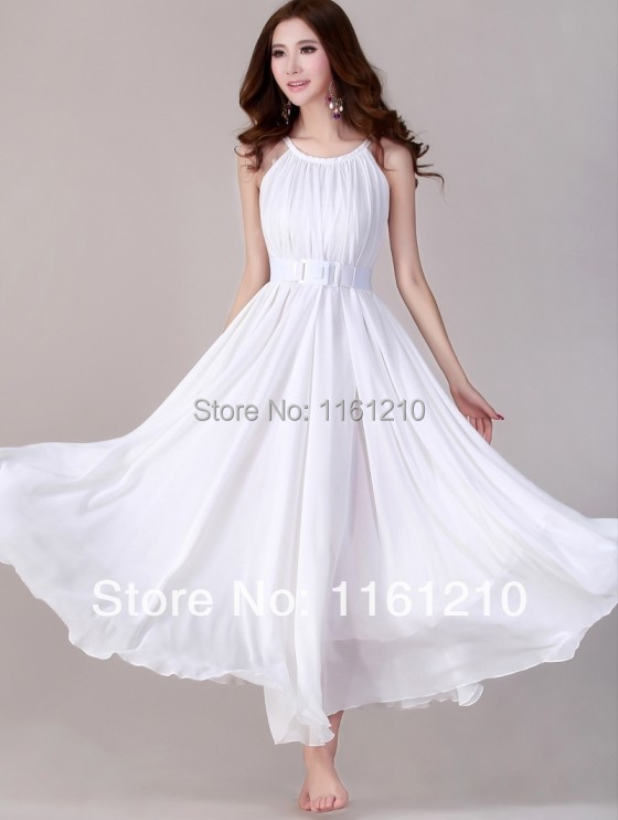Buy white summer holiday beach dress for Plus size wedding party dresses