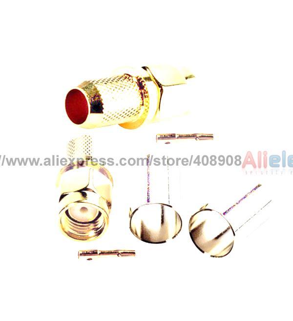 Фотография 100 Set PR SMA Male Crimp Female Pin for SMA RG 6 Cable Connector Pressure Line