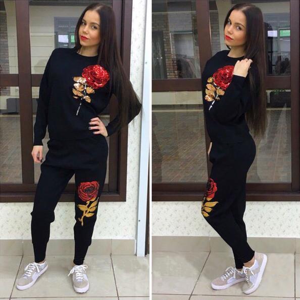 Jojo 2016 Новое Прибытие Осень Зима Женщины Спортивный Костюм 3D Розы Блесток женские ...