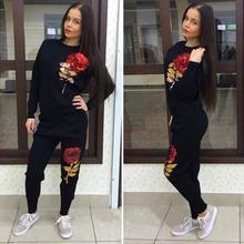 Jojo 2016 New Arrival Autumn Winter Women Sport Suit 3D Rose Flower Sequin Women's Tracksuits Running Sets hoodie sweatshirt(China (Mainland))