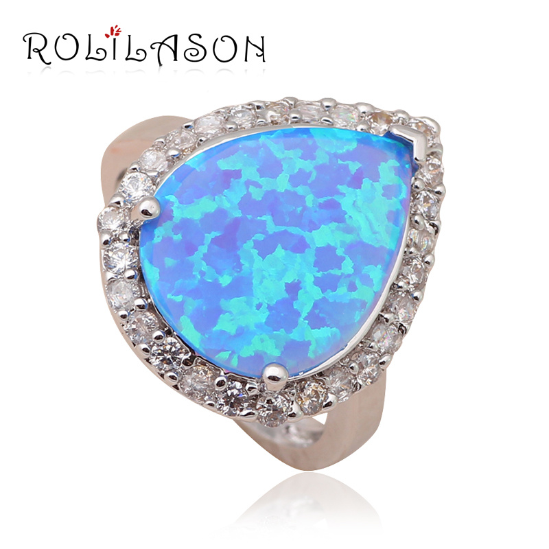 Water Drop Design Factory price Blue fire opal stamp Silver Wedding Women Health Fashion Jewelry Ring USA Sz #7#8#9#10 OR612 - TaoLiHao Ltd. store