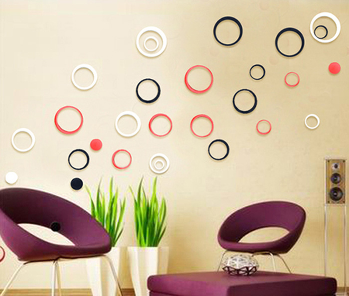 Wholesale Indoors Decoration Circles Stereo Removable 3D Art Wall