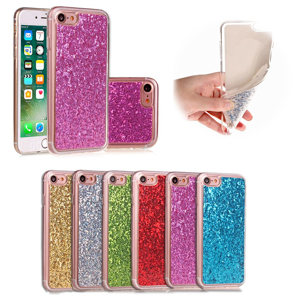 For iPhone 7 Case Luxury Sparkle 3D Glitter Power Bling Paillette Flexible Soft TPU Cover for Coque iPhone 7 7Plus(China (Mainland))